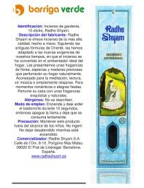 Incienso de gardenia Radhe...