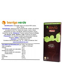 Chocolate negro 60% con stevia