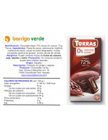 Chocolate negro 72% cacao...